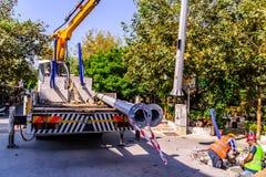 Infrastruktur arbetar i turkisk stad Fotografering för Bildbyråer