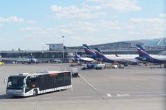 Infrastruktur på Sheremetyevo den internationella flygplatsen flygplan som väntar på slutliga portar för passagerare Flygplatsbus arkivfoton