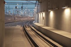 Infrstructure della stazione ferroviaria Immagini Stock Libere da Diritti