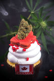 Infused cupcake with cannabis nug, flowers and flag to celebrate Royalty Free Stock Photo