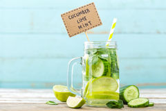 Infused detox water with cucumber, lime and mint. For diet healthy eating and weight loss with space for a text Stock Images