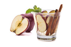 Infused fresh fruit water of apple and cinnamon. isolated over w Stock Image