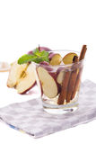 Infused fresh fruit water of apple and cinnamon. isolated over w Royalty Free Stock Photo