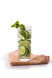 Infused fresh fruit water of cucumber. isolated over white Stock Photography