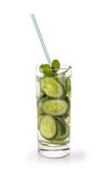 Infused fresh fruit water of cucumber. isolated over white Stock Image
