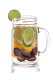 Infused fresh fruit water of grape, cucumber and orange. isolate Royalty Free Stock Image