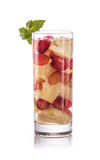 Infused fresh fruit water grape and pineapple. isolated over whi Stock Images