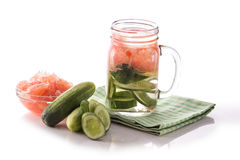 Infused fresh fruit water grapefruit and cucumber. isolated over Royalty Free Stock Photos