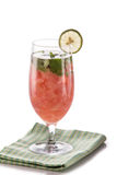 Infused fresh fruit water .isolated over white grapefruit, mint Stock Photos