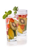 Infused fresh fruit water kiwi, mango and strawberry.isolated ov Stock Photo