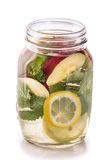 Infused fresh fruit water of lemon, apple and mint leaf. isolate Royalty Free Stock Photos