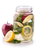 Infused fresh fruit water of lemon, apple and mint leaf. isolate Stock Image