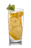 Infused fresh fruit water of lemon. isolated over white Royalty Free Stock Photography