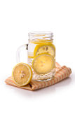 Infused fresh fruit water of lemon. isolated over white Stock Images