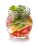 Infused fresh fruit water lime, cucumber, strawberry and mint. i Stock Photo
