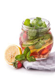 Infused fresh fruit water lime, cucumber, strawberry and mint. i Stock Image