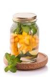 Infused fresh fruit water of mango, starfruit and mint.isolated Royalty Free Stock Image