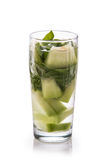 Infused fresh fruit water melon and basil leaf. isolated over wh Stock Images