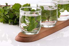 Infused fresh fruit water of mint leaf. isolated over white Stock Photos