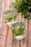 Infused fresh fruit water of mint leaf Royalty Free Stock Photography