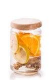 Infused fresh fruit water of orange, citrus and ginger.isolated Royalty Free Stock Photo