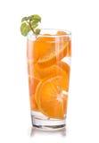 Infused fresh fruit water of orange citrus. isolated over white Royalty Free Stock Photo
