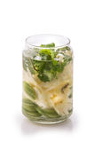 Infused fresh fruit water pineapple, cucumber and mint .isolated Royalty Free Stock Photos