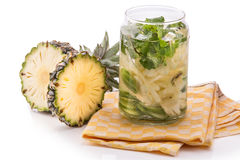 Infused fresh fruit water pineapple, cucumber and mint .isolated Stock Photography