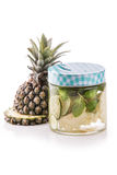 Infused fresh fruit water pineapple, lime and mint.isolated over Stock Photo
