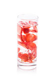 Infused fresh fruit water of strawberry. isolated over white Royalty Free Stock Image