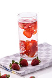 Infused fresh fruit water of strawberry. isolated over white Stock Photos