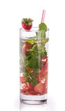 Infused fresh fruit water of strawberry and mint. isolated over Stock Photos