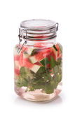 Infused fresh fruit water watermelon, starfruit and mint.isolate Royalty Free Stock Photos