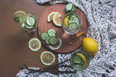Infused lemon and cucumber water Stock Images