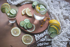 Infused lemon and cucumber water Stock Photo