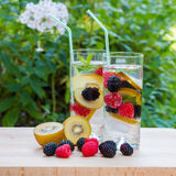 Infused water with  berries and golden kiwi. Royalty Free Stock Images