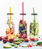 Infused water in bottles with drink straw and ingredients on white background, front view. royalty free stock image