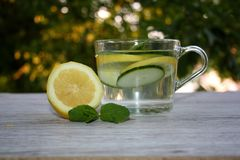 Infused water with cucumbers, lemons and mint. stock images