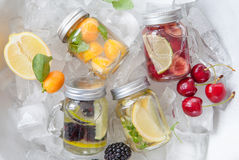 Infused water with fresh fruits royalty free stock images