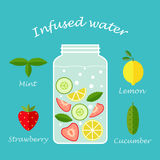 Infused water fruit recipe illustration vector Royalty Free Stock Photos