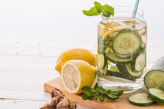 Infused water mix of cucumber and lemon Stock Photography