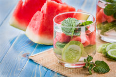 Infused water mix of cucumber, watermelon, and mint leaf Royalty Free Stock Images