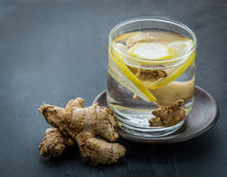 Infused water mix of ginger and lemon Stock Images
