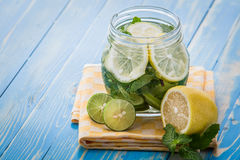 Infused water mix of lime, lemon and mint Stock Images