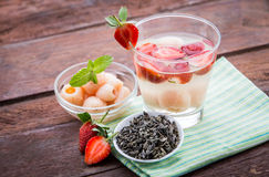 Infused water mix of  strawberry and lychees Royalty Free Stock Photo