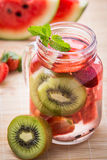 Infused water mix of  strawberry, watermelon and kiwi Stock Images