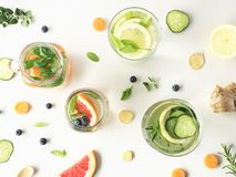 Infused waters with fruits and vegetables. royalty free stock photos