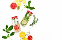Infused waters with various ingredients background royalty free stock photography