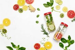 Infused waters with various ingredients background stock photos