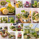 Infused waters from various tropical fruit Royalty Free Stock Images